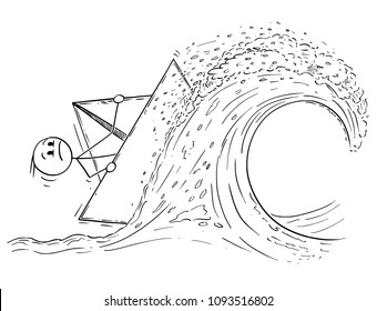 Cartoon stick man drawing conceptual illustration of businessman sailing paper ship or boat on high wave in stormy weather. Business concept of risk and crisis.