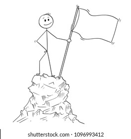 Cartoon stick man drawing conceptual illustration of businessman standing with flag on peak or top of the mountain. Business concept of success or achievement.