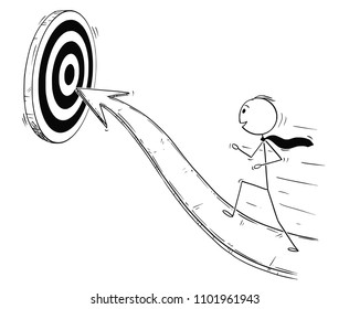 Cartoon stick man drawing conceptual illustration of businessman running on arrow for success. Business concept of career and goal.