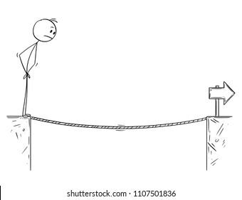 Cartoon stick man drawing conceptual illustration of businessman facing tightrope over the chasm. Business concept of challenge and obstacle.