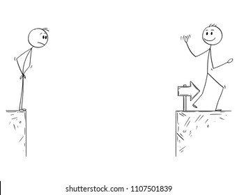 Cartoon stick man drawing conceptual illustration of businessman standing on edge of chasm and looking at successful competitor who overcome the chasm. Business concept of challenge, risk and