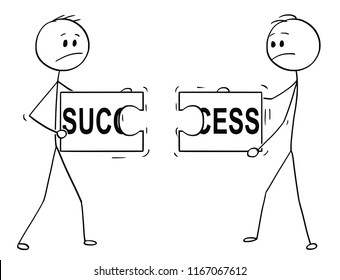 Cartoon stick man drawing conceptual illustration of two businessmen holding and trying to connect two unmatching pieces of jigsaw puzzle with success text. Business concept of cooperation failure in
