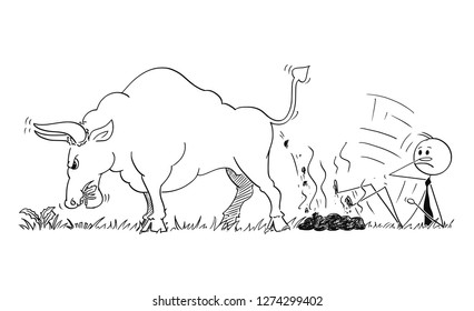 Cartoon stick man drawing conceptual illustration of businessman slipped on dung or excrement of bull as rising market prices symbol.