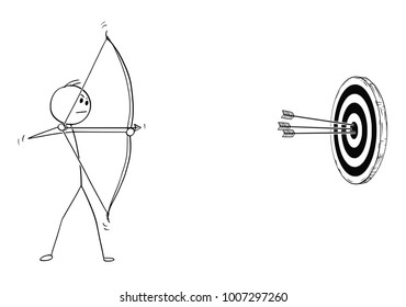 Cartoon stick man drawing illustration of sport archer in shooting pose with bow and arrow shooting successfully at target.