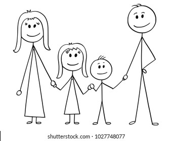 Cartoon stick man drawing illustration of happy family of father, mother, son and daughter.