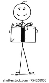 Cartoon stick man drawing illustration of smiling man holding large paper box gift present with ribbon.