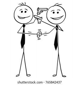 Cartoon stick man drawing illustration of two men politicians businessmen smiling and shaking their hands and pointing guns at each other in same time.