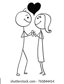 Cartoon stick man drawing illustration of man and woman in love holding each other with heart sign above.