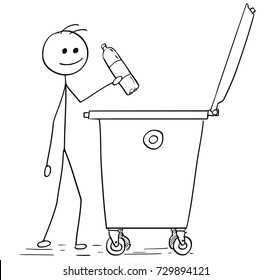 Cartoon stick man illustration of man throwing empty plastic bottle in to waste container.