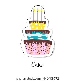 Cartoon sticker with cake on white background. Vector illustration.
