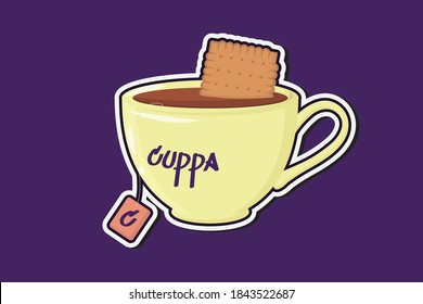 Cartoon sticker cuppa cup of tea with biscuit