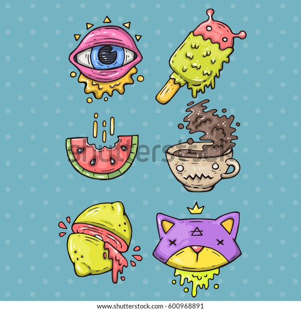 Cartoon sticker set  in 80s 90s comic trendy style. Vector doodle funny badges.