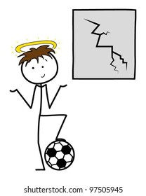 Cartoon stickman boy with a football next to a broken window
