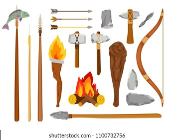 Cartoon stone age tools. Primitive caveman elements isolated on white background, prehistoric savage tools stone ax, fire and mace vector illustration