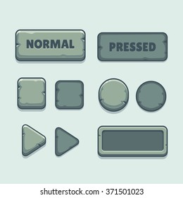 Cartoon stone buttons set in different shapes. Vector game interface assets.