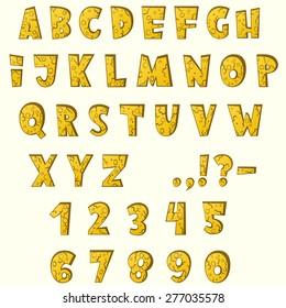 Cartoon stone cracked font