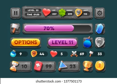 Cartoon Stone And Rock Icons For Ui Game. Set icons and stone buttons. For web, video games, user interface, design.