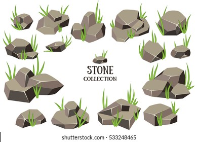 Cartoon stone set. Grey rock collection. Vector illustration isolated on white background