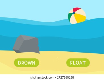 Cartoon stone underwater and ball illustration. Educational english memo card with antonyms cartoon vector template. Kids flashcards for foreign language learning. Opposites, drown, float words.