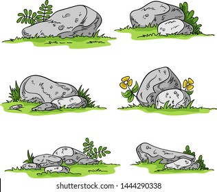 Cartoon stones on meadow. Hand drawn vector illustration.
