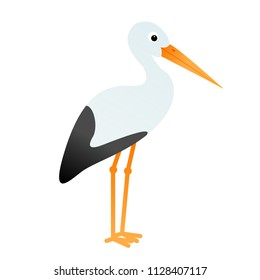 Cartoon stork bird isolated on white background, vector illustration