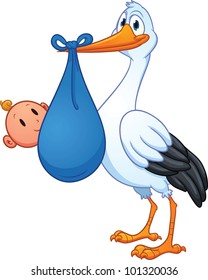 Cartoon stork carrying a baby. Vector illustration with simple gradients. All in a single layer.