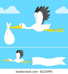 Cartoon stork flying with banner with copy space and bundle