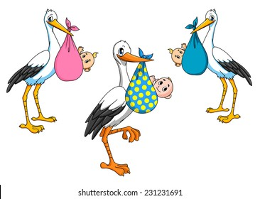 Cartoon storks carrying little newborn babies for delivery boy and girl