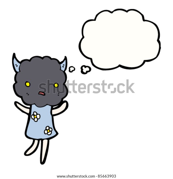 cartoon storm cloud head girl