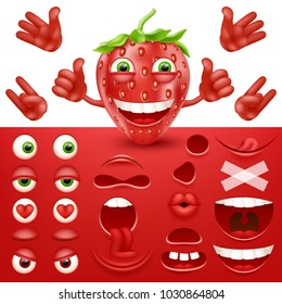 Cartoon strawberry 3d smiley face vector character creation constructor. Emoji with emotions, eyes and mouthes set.