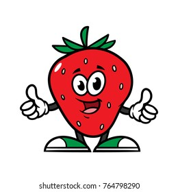 Cartoon Strawberry Character Giving Thumbs Up
