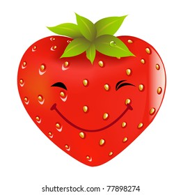 Cartoon Strawberry, Isolated On White Background, Vector Illustration