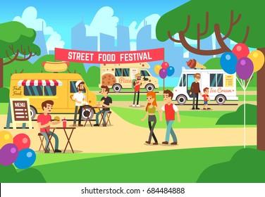 Cartoon street food festival with people and trucks vector background. Street food festival and market illustration