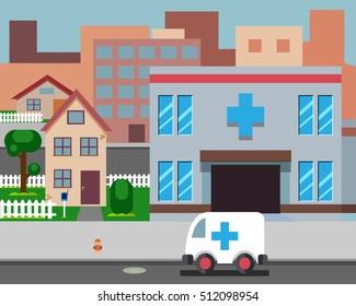 Cartoon Street Hospital Stylish Background flat Retro Design Vector Illustration