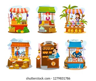 Cartoon street shops set. Fruits, vegetables, spices, grains, seafood and bakery markets. Vector local business illustration