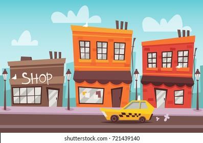 Cartoon Street. Vector Illustration