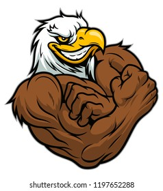 Cartoon strong american eagle bodybuilder on the white background.