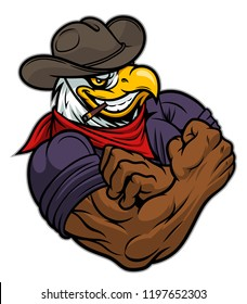 Cartoon strong eagle cowboy on the white background.