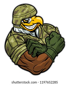 Cartoon strong eagle soldier in military uniform.