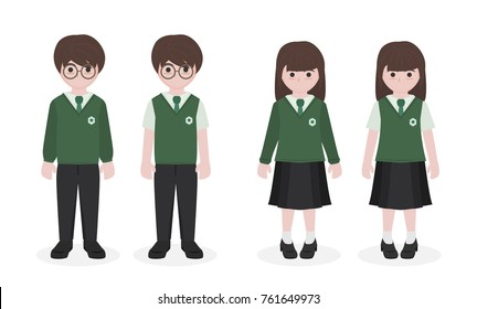 cartoon student in school uniform , isolated on white background vector