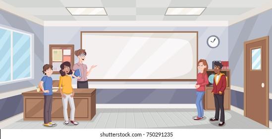 Cartoon students in classroom with teacher. School building.