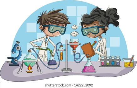 Cartoon students doing research with chemical fluid in the laboratory. Chemistry Classroom.