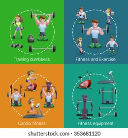 Cartoon style 2x2 images set presenting people training with dumbbells doing exercise and cardio fitness vector illustration