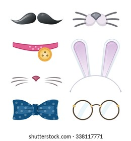 Cartoon style accessories (mustache, glasses, collar, cat nose, bow tie, bunny ears). Vector illustration.