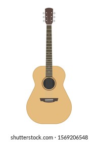 Cartoon style acoustic guitar. Western cowboy style simple shape. Vector illustration image. Isolated on white background.
