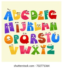 Cartoon style alphabet with funny eyes. School alphabet