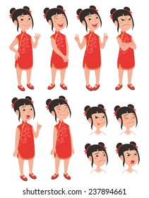 Cartoon style Asian girl in traditional chinese qipao red dress. Set of original character different standing poses and facial expressions. Vector illustrations collection isolated on background