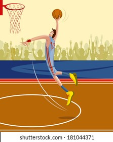 cartoon style basketball player in vector