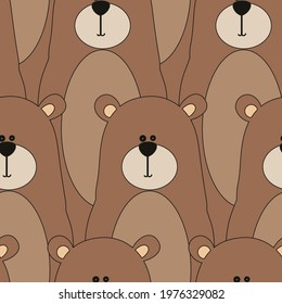 Cartoon style bear pattern seamless. Children's illustration for the textile industry