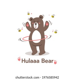 Cartoon style brown bear playing hula hoop sport cartoon character, Cute Bear with Bees,Teddy Bear Isolated on white background Vector Illustration